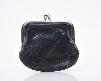 Minnie French Wallet Black Vintage Leather Coin Purse