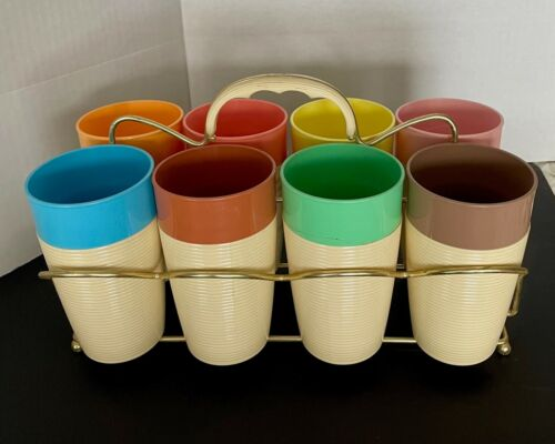 Raffiawear Thermo Temp Vintage Ribbed  Multicolor Tumblers Set of 8 w/ Holder