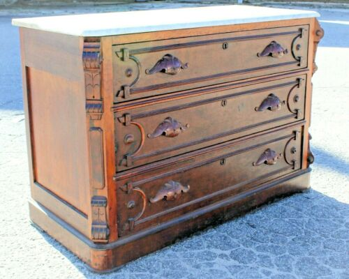 Antique Marble Top Dresser / Chest of Drawers Victorian Walnut