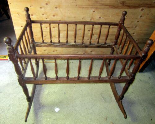 """Antique maple Baby Rocking Cradle Crib circa 1830, 42"""" L, 38"""" H, 24"""" W"""