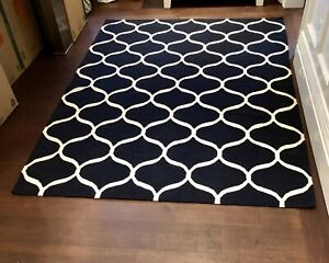 2 Dark Navy and White IKEA Area Rugs