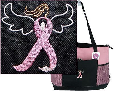Pink Breast Cancer Awareness Ribbon Angel Monogram Bag Gemline Zipper Tote -