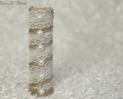 DIY Burlap Lace and Pearl Rustic Bride Wedding Bouquet Handle Holder NEW](Bouquet Holders)