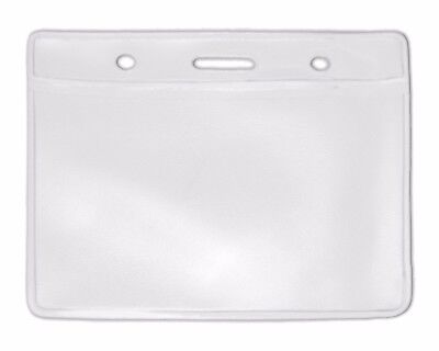 Clear Horizontal Landscape ID Vinyl Pouch Card Badge Pass Wallet Visitor Holder Horizontale Vinyl Pouch