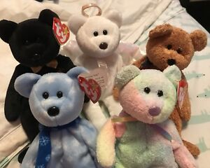 TY Beanie Bears - Holiday 1999, The End, Halo, Curly and Groovy