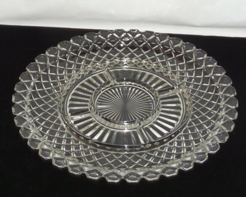 "Anchor Hocking WATERFORD/WAFFLE CRYSTAL *14"" 5 PART RELISH PLATE/TRAY*"
