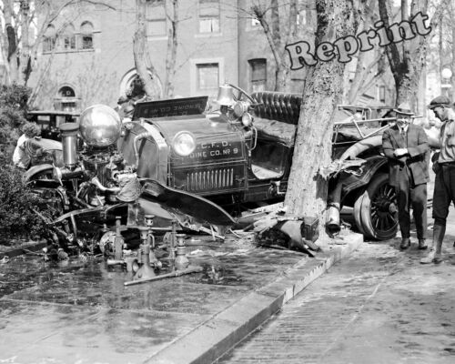 Photograph of a Fire Engine Wreck (Engine Co. #9) Washington DC Year 1922 8x10