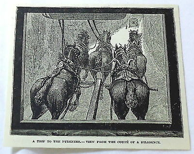 1886 magazine engraving ~ A Trip To The Pyrenees - Horses Pulling Carriage