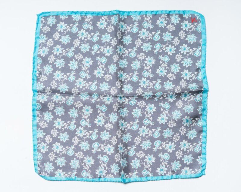 "Isaia $140 NWT Gray Blue Floral Print 100% Silk Pocket Square 13"" 33 cm"