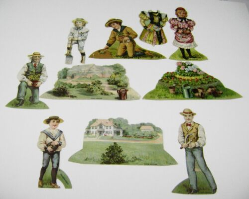 1890s ANTIQUE VICTORIAN PAPER DOLLS TOY ADVERTISING LOT LION COFFEE DOLL HOUSE