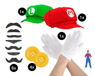 Set Mario Super Zubehör Kostüm Accessoire Handschuhe, Bart, Knopf, Mütze  ()