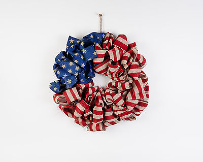 Americana Wreath - American Flag Patriotic 4th of July USA Veterans Day FH0522