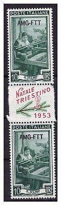 Trieste A 1953  AMG - FTT   Natale Triestino 10 Lire  COPPIA **