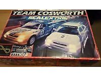 Rare Vintage Scalextric Team Cosworth Boxed Set in Perfect Order