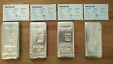 1 Kilo Metalor Silver Bar 999.0 X 4 (Quantity) All 4 With Certificates