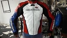 Honda hrc red white and blue leather jacket