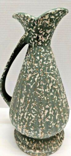 "Vintage Midcentury Savoy China High Relief Pitcher Vase 24K Gold Wash White 12"""