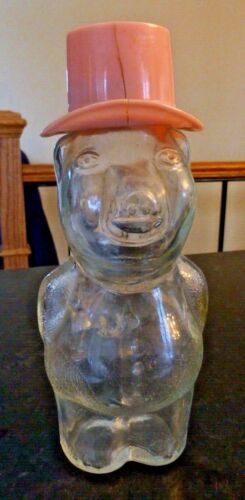 Clear Glass Jar / pig lid has a coin slot vintage - syrup? D