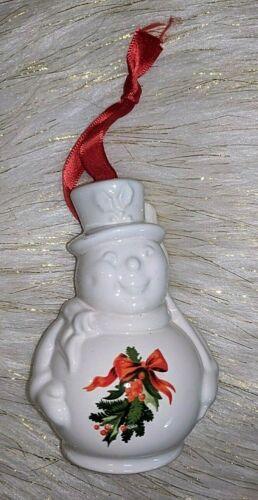 VTG Pfaltzgraff Christmas White Snowman Bell Ornament