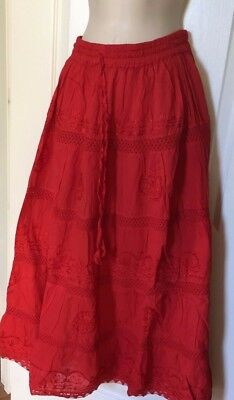 Full Skirt With Lining Size L / 2 X Elastic Waist With String New Color Red Full Long Skirt