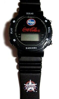 NEW 80s Vintage Coca Cola Texas Rangers Digital Watch RARE Coke Card Collectible