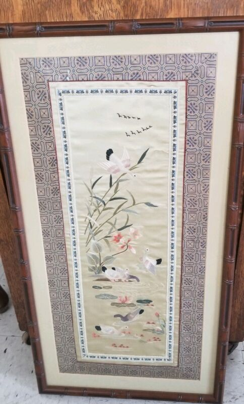 Vintage Asian Hand Embroidered Silk Tapestry Panel w Faux Bamboo Frame