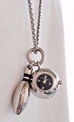 Marc Jacobs Silver Bowling Ball & Pin Pendant Chain Necklace Watch Time Piece
