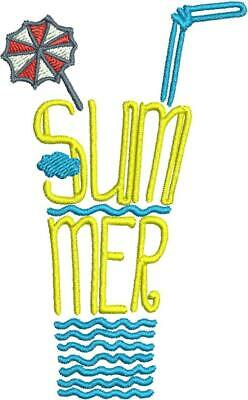 Summer Drink Word Art Designs Machine Embroidery ()