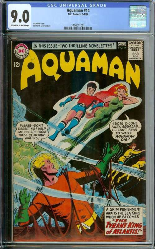 AQUAMAN #14 CGC 9.0 OW/WH PAGES