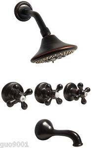 Oil Rubbed Bronze 3 Handles Combination Bathroom Tub & Shower Diverter Faucet