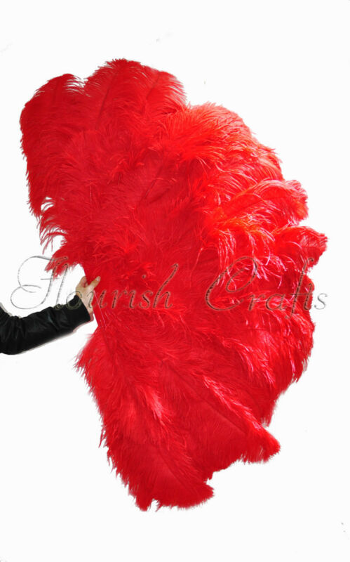 "Red Professional Bushy 3 Layers Ostrich Feather Burlesque Fan 67"" Opened 180°"