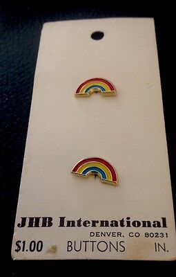 """2 Vintage 9/16"""" JHB Realistic Novelty Figural Metal Rainbow Buttons"""
