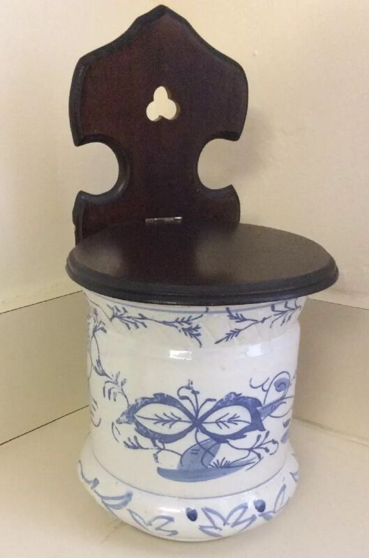 SALT BOX-VTG EUROPEAN WOODEN TOP BLUE &WHITE HANGING  SALT/STORAGE BOX