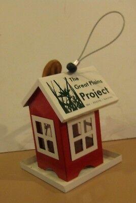 LITTLE RED HOUSE BIRD FEEDER WITH SUET HOLDER ALL METAL