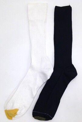 ($35 GOLD TOE New Men's 2-Pair Pack WHITE NAVY BLUE Crew Dress Socks SHOE 10-11)