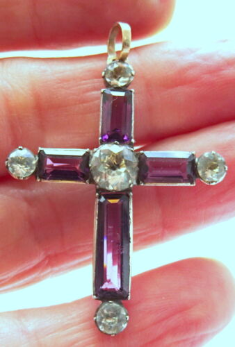Georgian Silver and Black Dot and Amethyst Paste Cross Pendant