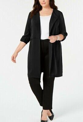 Drop Collar Coat - Bar III London Trench Coat Wrap Style Unlined Lightweight Drop Collar Black XXL