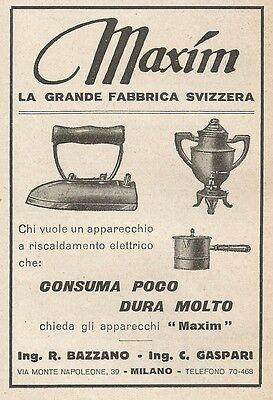 Z2327 MAXIM - Apparecchi a riscaldamento elettrico - Pubblicità 1928 - Advert