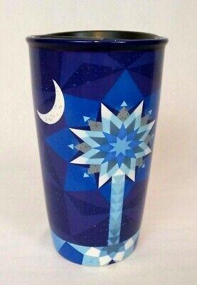 Starbucks 2017 Blue South Carolina Patchwork Tumbler Travel Coffee Mug 12 oz
