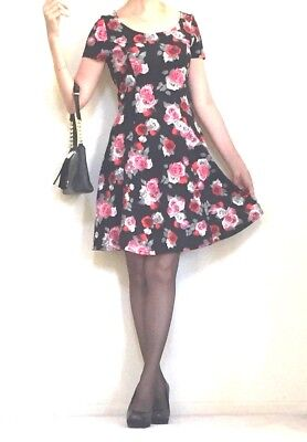 H&M Divided Black Floral Jersey Dress Size S NWT