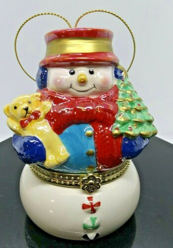Mr. Christmas Ceramic Snowman Ornament Music Box Tiny Scene of Ice Skaters