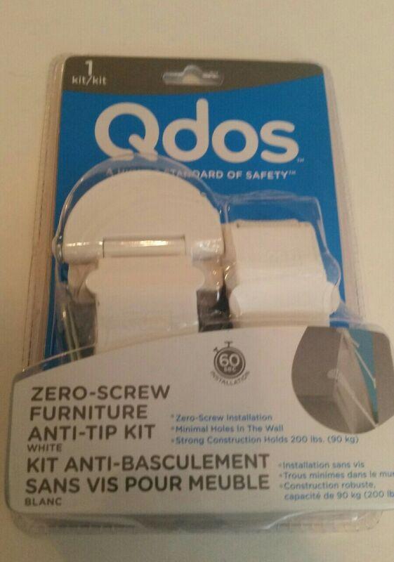 Qdos Zero-Screw Furniture Anti-Tip Kit, White, Furniture Safety