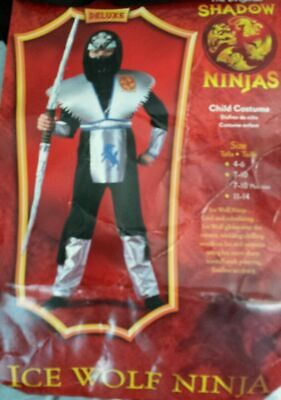 New Shadow Ninjas Ice Wolf Halloween Costume Jumpsuit Mask Sz (7-10) by Disguise