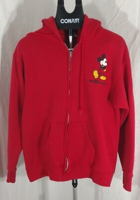 vintage Walt Disney World Mickey Mouse red Zip-up hoodie Large character fashion ()