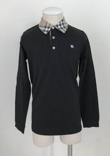 Burberry Boys Polo Nova Check Collar Long Sleeve Shirt Black Size 10Y