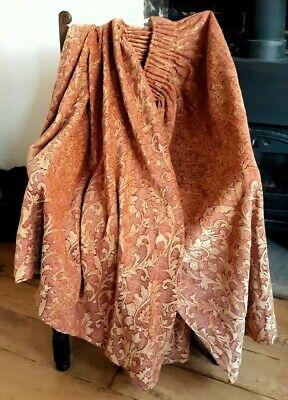 """Vintage John Lewis Gold Cranberry Chenille Curtains L42"""" 107cm W64"""" 163cm"""