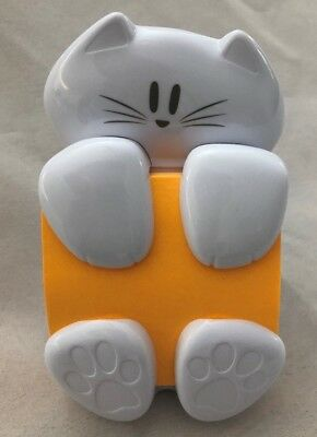 White 4 Post-it Cat Figure Pop-up Note Fun Cute Dispenser - Holds 3x3 Post-it