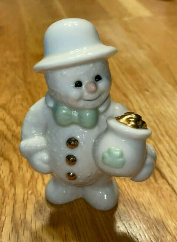 PRE OWNED: 2000 Lenox 12 months of snowman series: March-Pot of Gold Figurine