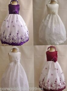 WHITE-IVORY-RED-PURPLE-PINK-WINE-BLACK-PARTY-FLOWER-GIRL-DRESS-18M-2-4-6-8-10-12