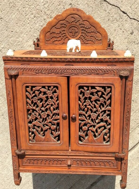 Antique Chinese Carved Sandlewood Cabinet Two Door One Drawer